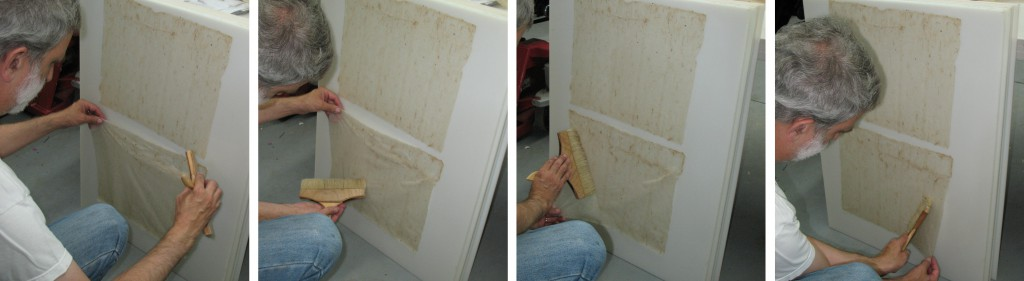 """Now I use the brush to smooth the sheet onto a drying board (in this case a sheet of 5/16"""" polyethylene). There is an acquired knack to this in order to get the sheet laid down with no wrinkles."""