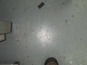 All the glitter on the floor that I had picked out of the paper.
