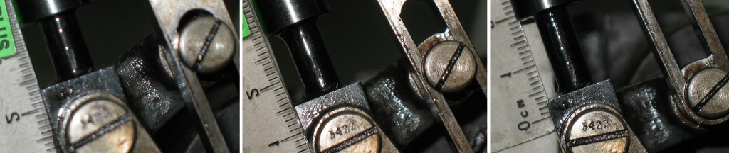 This shows a millimetre scale next to the lower end of the Spring Box Xa17G at three positions of the stroke: Compressed at top of stroke (left), Neutral partway through the stroke, and extended at the bottom of the stroke (right).