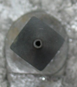 Worn nozzle. Note how outer diameter of tip is out of round.