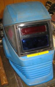 My Nedermann Weldomatic 2000 welding helmet, with the front bezel and protective cover removed.