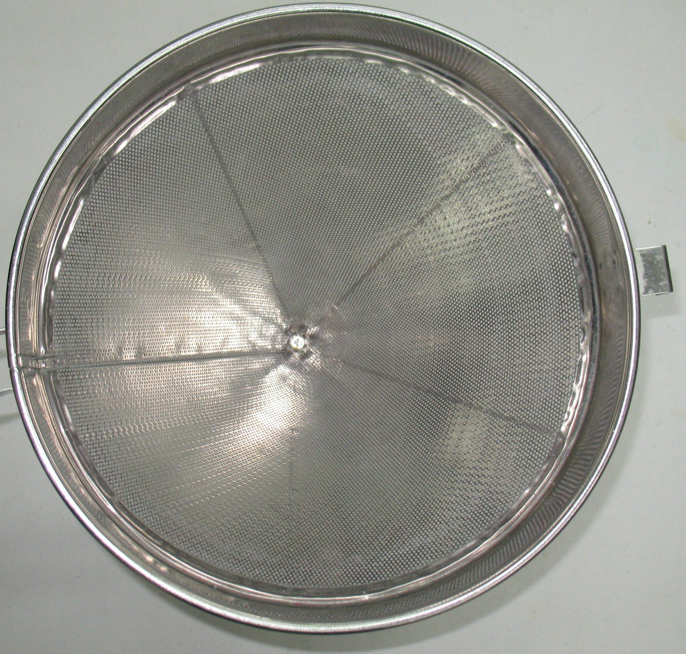 Top view inside the cone of the large strainer