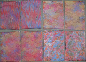 Eight sheets of 12×18″ marbled handmade paper