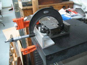 Measurement on an English composition mould using a 4″ micrometer.