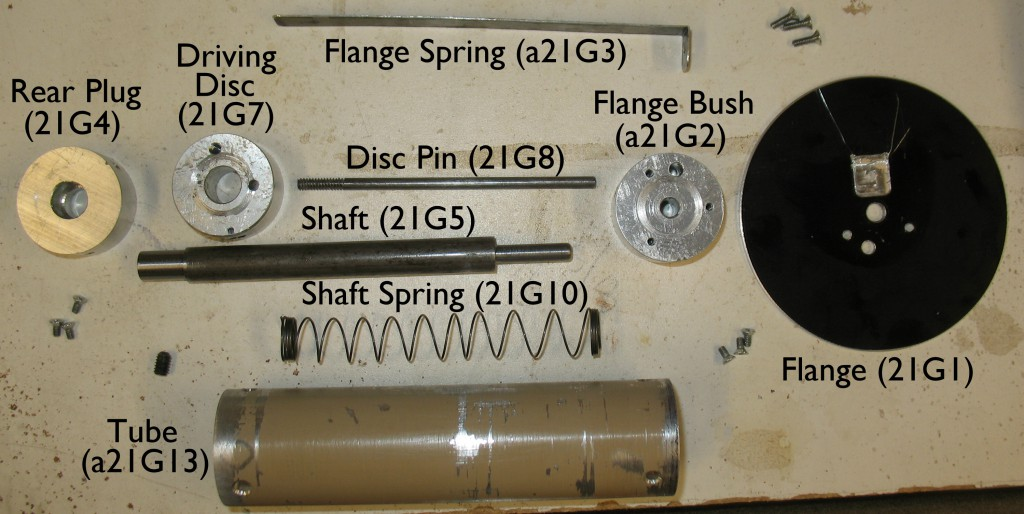 The parts for my home-made Winding Spool, showing the names and numbers of the closest corresponding standard parts.
